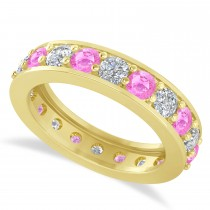 Diamond & Pink Sapphire Eternity Wedding Band 14k Yellow Gold (2.40ct)