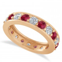 Diamond & Ruby Eternity Wedding Band 14k Rose Gold (2.40ct)