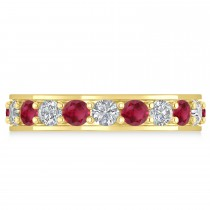Diamond & Ruby Eternity Wedding Band 14k Yellow Gold (2.40ct)