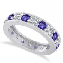 Diamond & Tanzanite Eternity Wedding Band 14k White Gold (2.40ct)