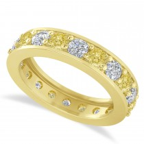 Yellow Diamond Eternity Wedding Band 14k Yellow Gold (2.40ct)