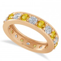 Diamond & Yellow Sapphire Eternity Wedding Band 14k Rose Gold (2.40ct)