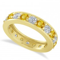 Diamond & Yellow Sapphire Eternity Wedding Band 14k Yellow Gold (2.40ct)