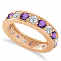 Diamond & Amethyst Eternity Wedding Band 14k Rose Gold (2.85ct)
