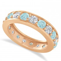 Diamond & Aquamarine Eternity Wedding Band 14k Rose Gold (2.85ct)