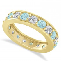 Diamond & Aquamarine Eternity Wedding Band 14k Yellow Gold (2.85ct)