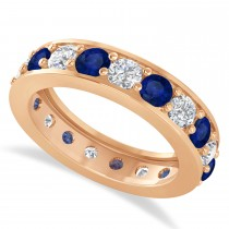 Diamond & Blue Sapphire Eternity Wedding Band 14k Rose Gold (2.85ct)