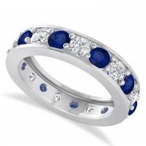 Diamond & Blue Sapphire Eternity Wedding Band 14k White Gold (2.85ct)
