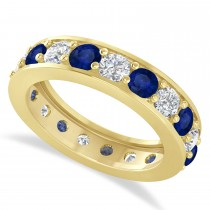 Diamond & Blue Sapphire Eternity Wedding Band 14k Yellow Gold (2.85ct)