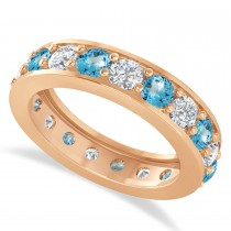 Diamond & Blue Topaz Eternity Wedding Band 14k Rose Gold (2.85ct)