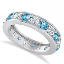 Diamond & Blue Topaz Eternity Wedding Band 14k White Gold (2.85ct)