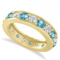 Diamond & Blue Topaz Eternity Wedding Band 14k Yellow Gold (2.85ct)