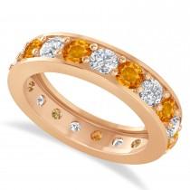 Diamond & Citrine Eternity Wedding Band 14k Rose Gold (2.85ct)