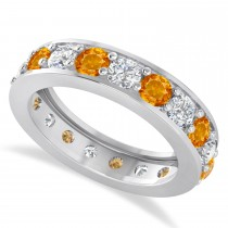Diamond & Citrine Eternity Wedding Band 14k White Gold (2.85ct)