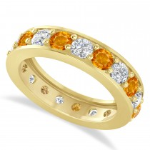 Diamond & Citrine Eternity Wedding Band 14k Yellow Gold (2.85ct)