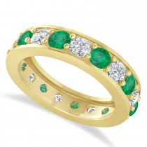 Diamond & Emerald Eternity Wedding Band 14k Yellow Gold (2.85ct)