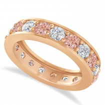 Diamond & Morganite Eternity Wedding Band 14k Rose Gold (2.85ct)