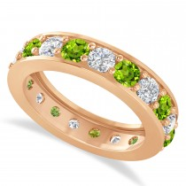 Diamond & Peridot Eternity Wedding Band 14k Rose Gold (2.85ct)