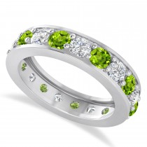 Diamond & Peridot Eternity Wedding Band 14k White Gold (2.85ct)