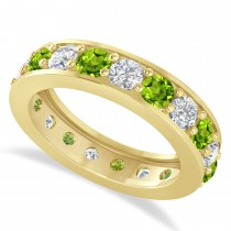 Diamond & Peridot Eternity Wedding Band 14k Yellow Gold (2.85ct)