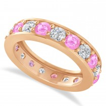 Diamond & Pink Sapphire Eternity Wedding Band 14k Rose Gold (2.85ct)