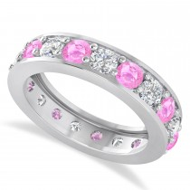 Diamond & Pink Sapphire Eternity Wedding Band 14k White Gold (2.85ct)