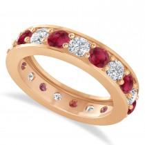 Diamond & Ruby Eternity Wedding Band 14k Rose Gold (2.85ct)