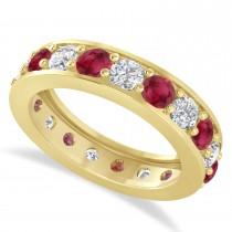 Diamond & Ruby Eternity Wedding Band 14k Yellow Gold (2.85ct)