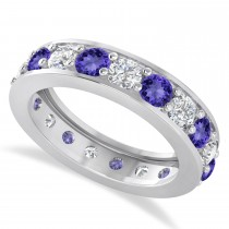 Diamond & Tanzanite Eternity Wedding Band 14k White Gold (2.85ct)