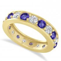 Diamond & Tanzanite Eternity Wedding Band 14k Yellow Gold (2.85ct)
