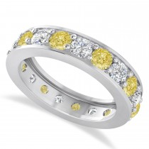Yellow & White Diamond Eternity Wedding Band 14k White Gold (2.85ct)