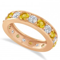 Diamond & Yellow Sapphire Eternity Wedding Band 14k Rose Gold (2.85ct)