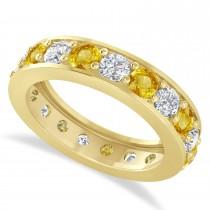 Diamond & Yellow Sapphire Eternity Wedding Band 14k Yellow Gold (2.85ct)