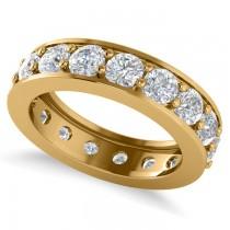 Diamond Eternity Channel Wedding Band 14k Yellow Gold (3.40ct)
