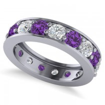 Diamond & Amethyst Eternity Channel Wedding Band 14k White Gold (3.22ct)