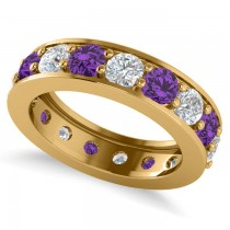 Diamond & Amethyst Eternity Channel Wedding Band 14k Yellow Gold (3.22ct)