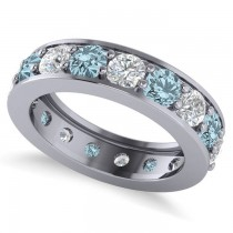 Diamond & Aquamarine Eternity Channel Wedding Band 14k White Gold (3.49ct)