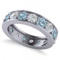 Diamond & Aquamarine Eternity Channel Wedding Band 14k White Gold (3.49ct)