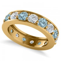 Diamond & Aquamarine Eternity Channel Wedding Band 14k Yellow Gold (3.49ct)