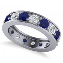 Diamond & Blue Sapphire Eternity Channel Wedding Band 14k White Gold (4.21ct)
