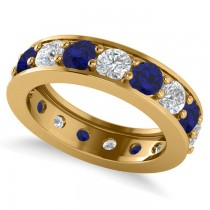 Diamond & Blue Sapphire Eternity Channel Wedding Band 14k Yellow Gold (4.21ct)