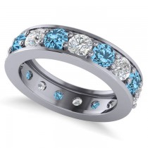 Diamond & Blue Topaz Eternity Channel Wedding Band 14k White Gold (3.94ct)