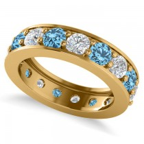 Diamond & Blue Topaz Eternity Channel Wedding Band 14k Yellow Gold (3.94ct)