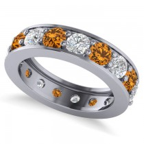 Diamond & Citrine Eternity Channel Wedding Band 14k White Gold (3.22ct)
