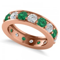 Diamond & Emerald Eternity Channel Wedding Band 14k Rose Gold (3.76ct)
