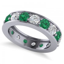 Diamond & Emerald Eternity Channel Wedding Band 14k White Gold (3.76ct)