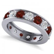 Diamond & Garnet Eternity Channel Wedding Band 14k White Gold (3.85ct)