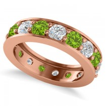 Diamond & Peridot Eternity Channel Wedding Band 14k Rose Gold (3.58ct)