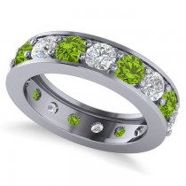 Diamond & Peridot Eternity Channel Wedding Band 14k White Gold (3.58ct)