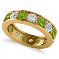 Diamond & Peridot Eternity Channel Wedding Band 14k Yellow Gold (3.58ct)